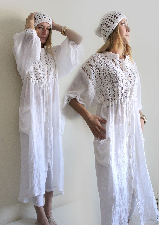 84fb826fd5d7b44 Купить Платье-рубашка из хб пряжи и льняной марлевки 'Шум' - белый ...