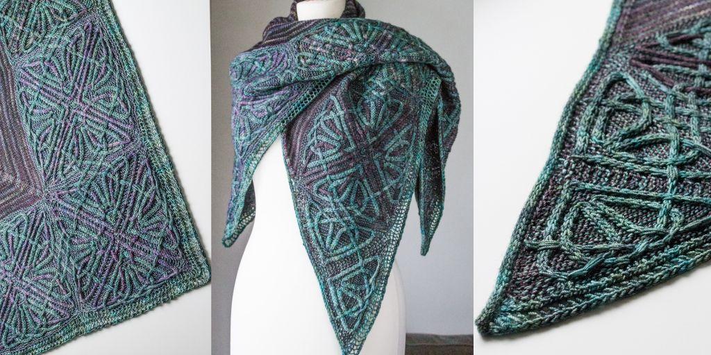кельтские узоры спицами для шали Durrow новая модель треугольной