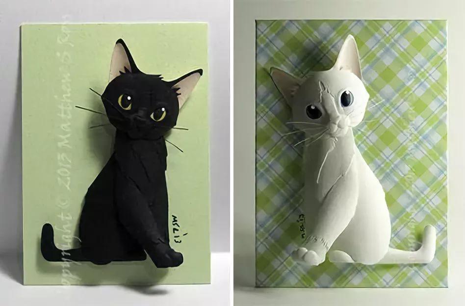 Открытку, как из бумаги сделать открытку кота