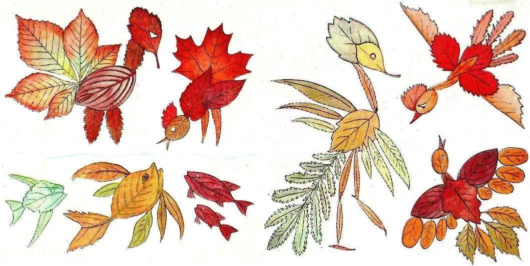 рисунки из листьев животные так хорошем