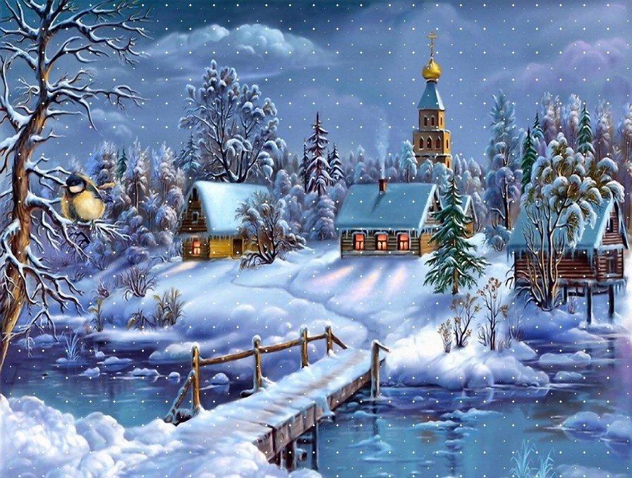 Открытка поздравительная с зимним пейзажем
