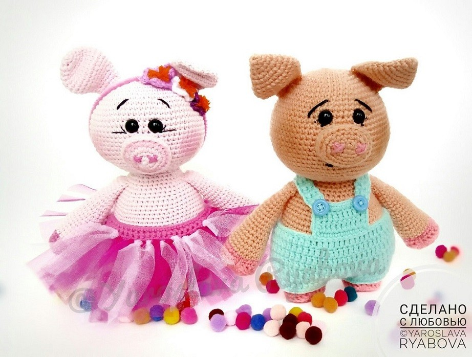 свинки амигуруми схема крючком Amiguroom игрушки постила