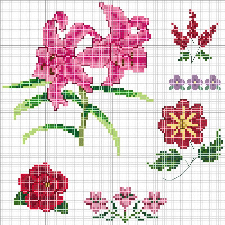Схемы вышивки узор цветы