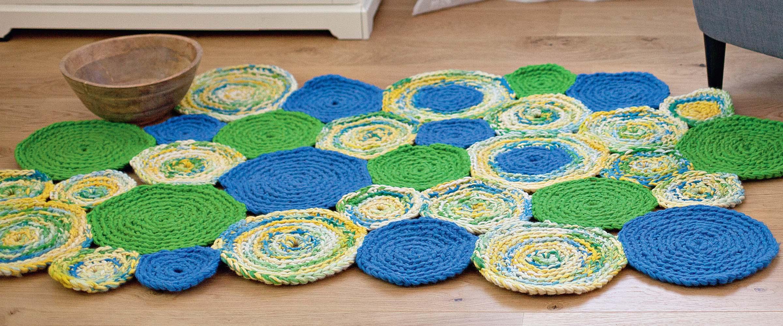 коврик из разноцветных кругов схема вязания крючком вяжем коврики