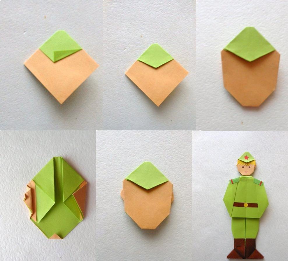 Открытка оригами на 23 февраля своими руками