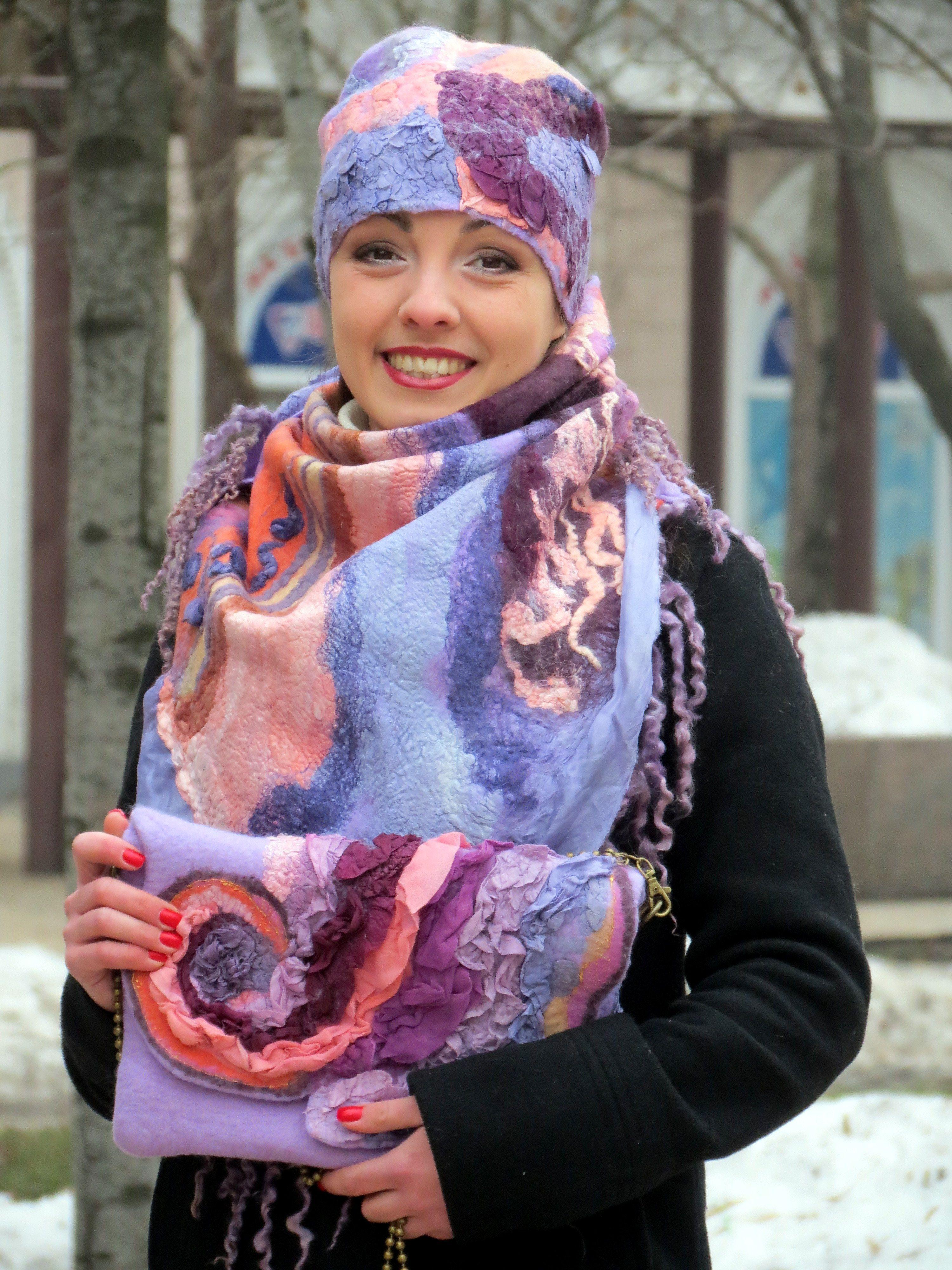 Валяные шарфики из шерсти картинки
