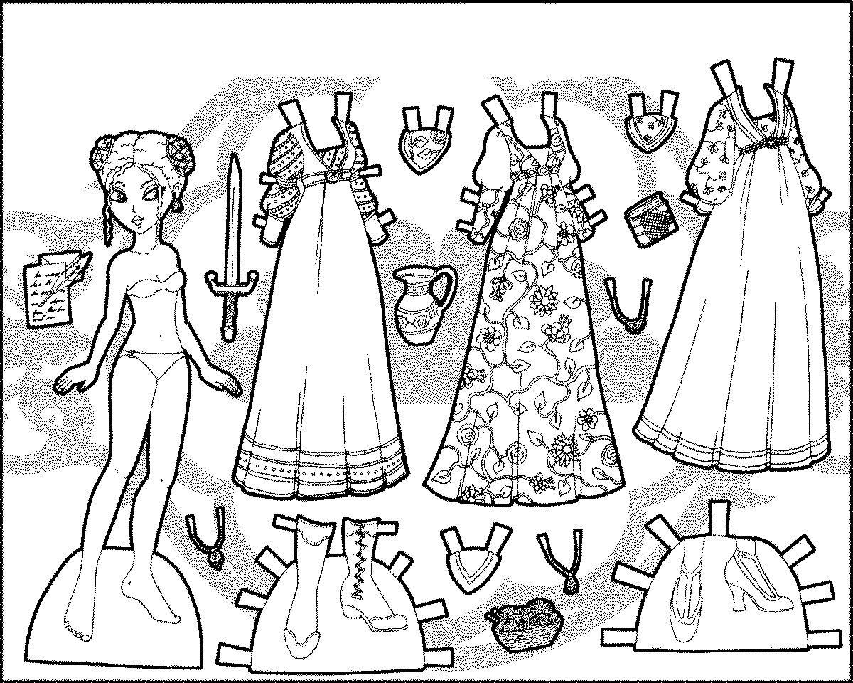 Бумажная одежда для кукол раскраска   бумажные куклы и ...