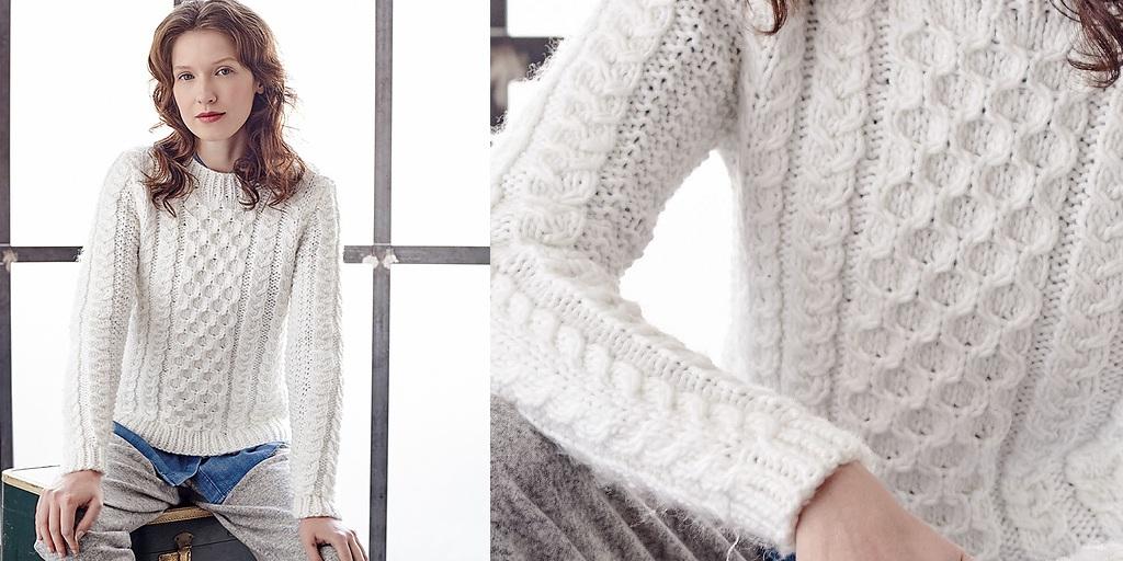 белый свитер спицами Roding вязание постила
