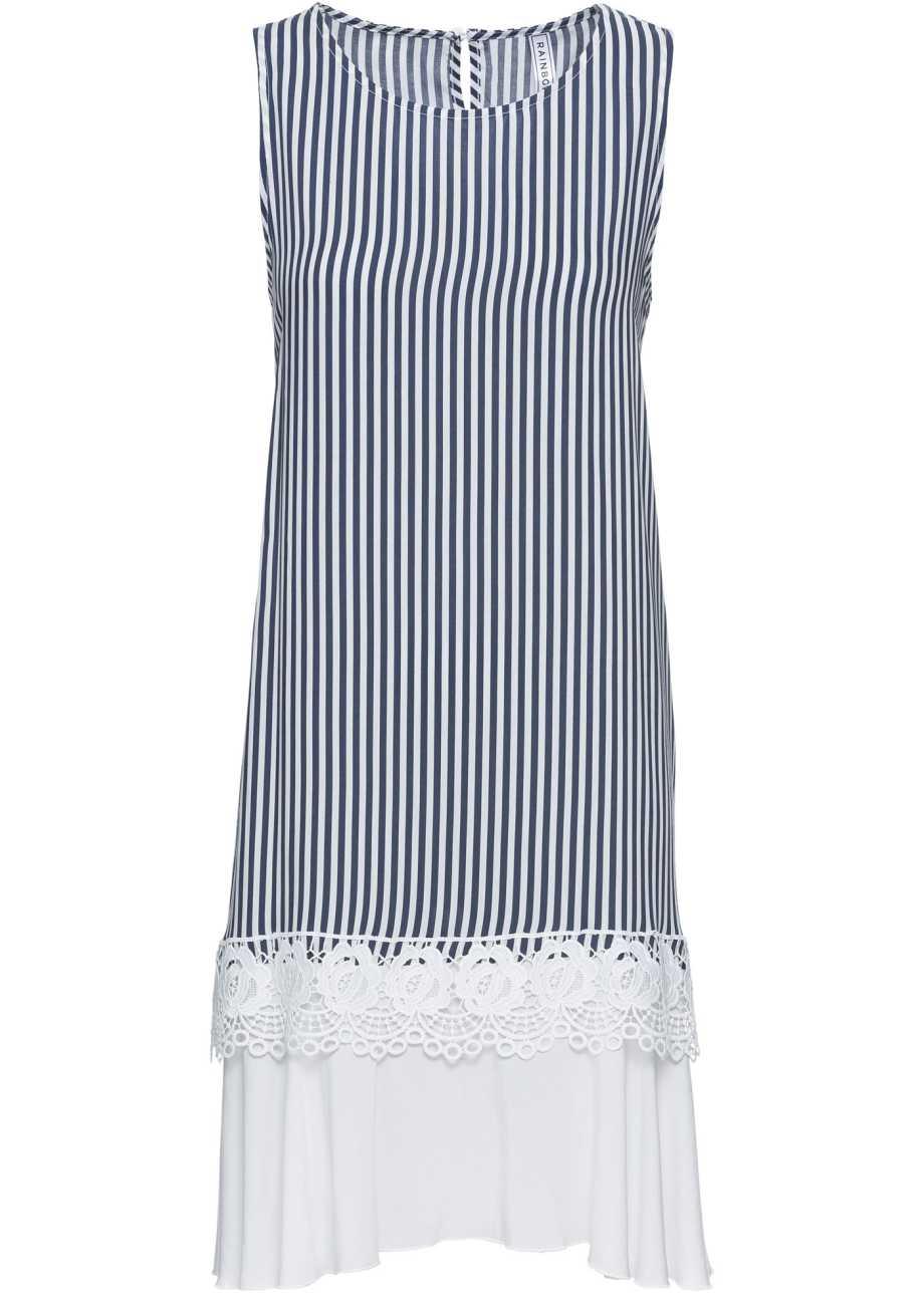 c5332b3832c Платье с кружевом на подоле синий белый в полоску - Для женщин ...