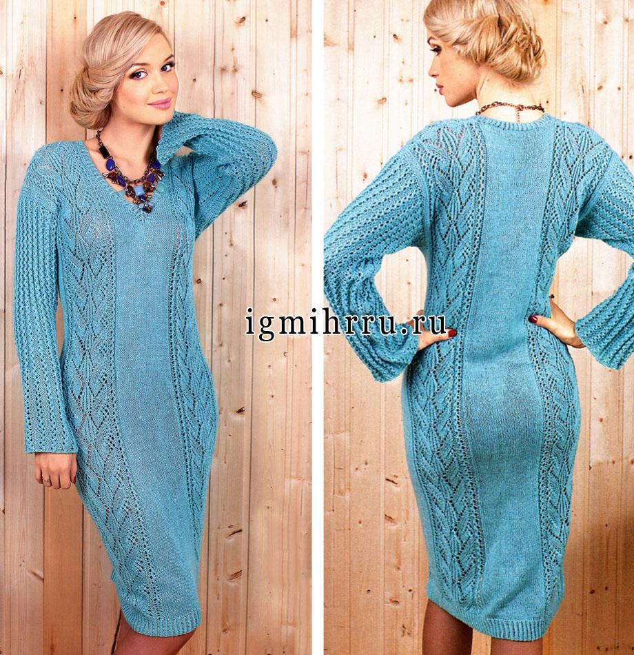 Вязание спицами теплые платья с описанием