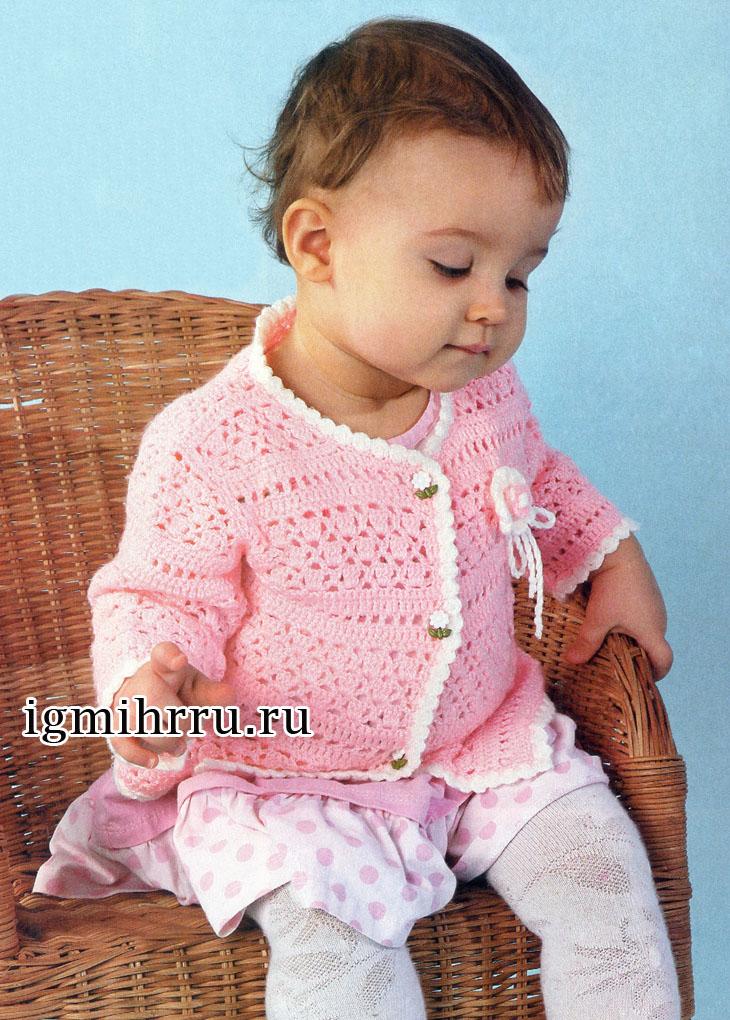 розовая ажурная кофточка для малышки 1 года вязание крючком для