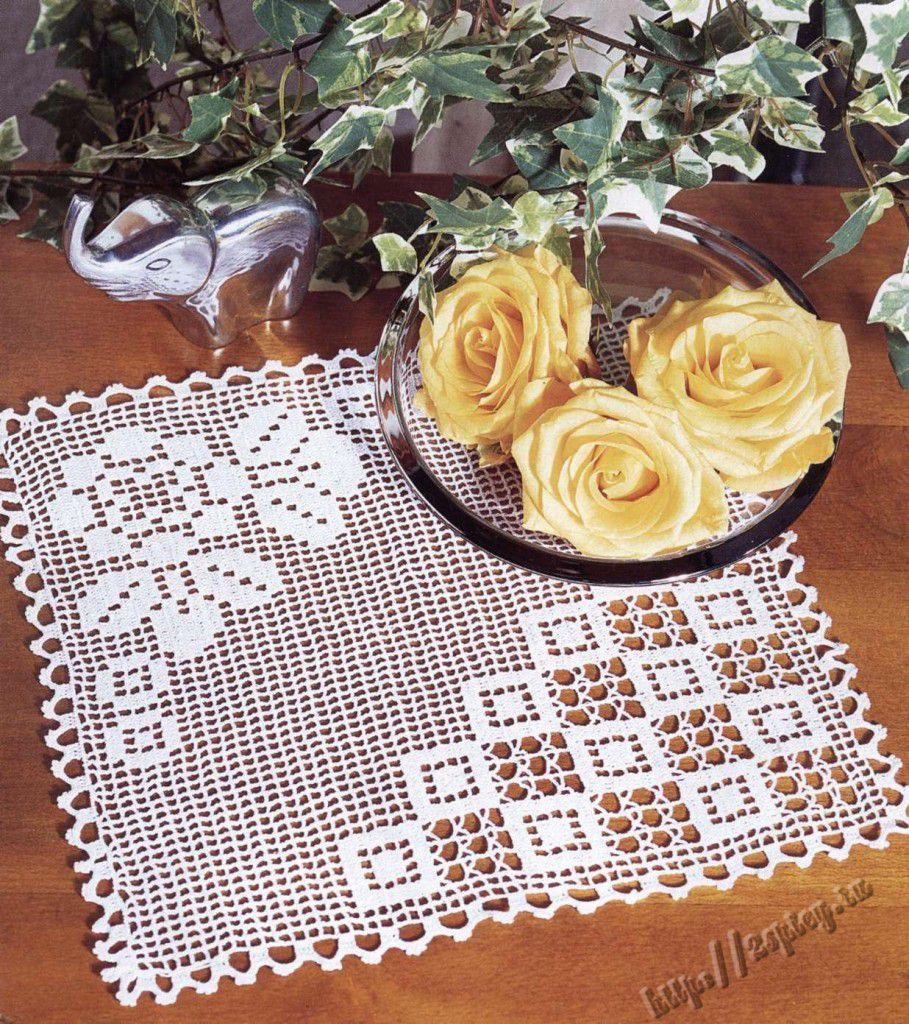 нежность, филейное вязание салфетка с картинкой омских