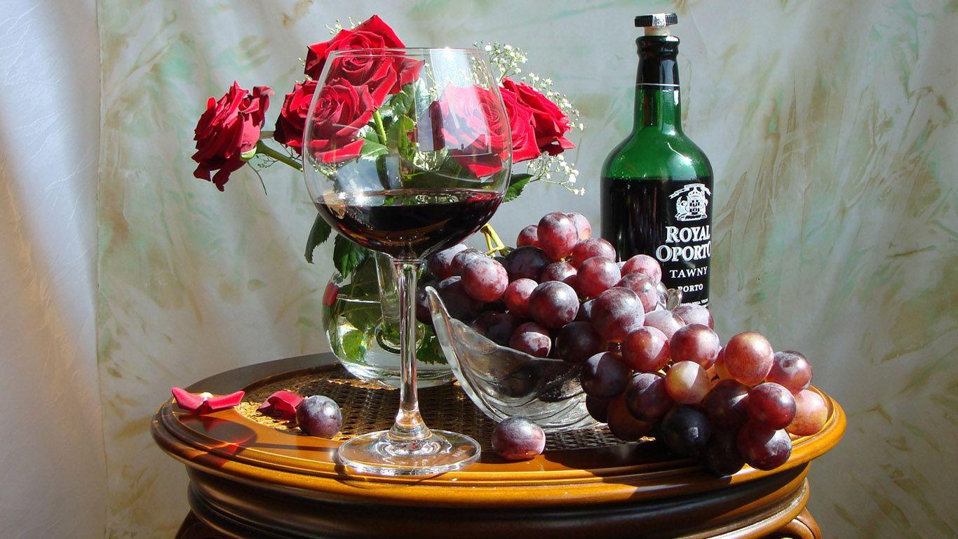 Фрукты с вином открытки