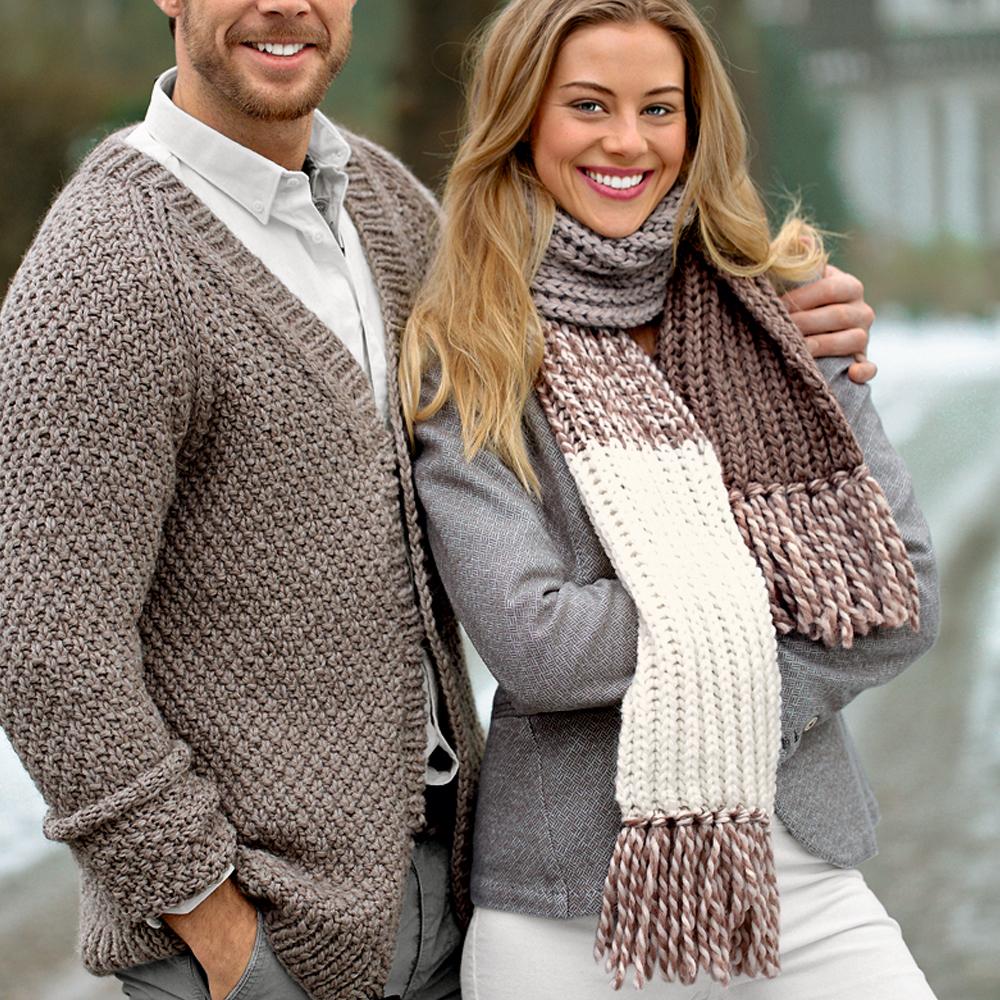 шарф из толстой пряжи с бахромой схема вязания спицами вяжем