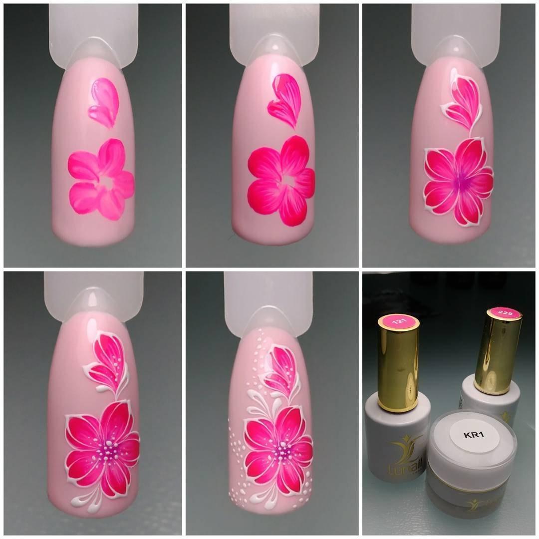 Рисунок цветы на ногтях фото пошагово