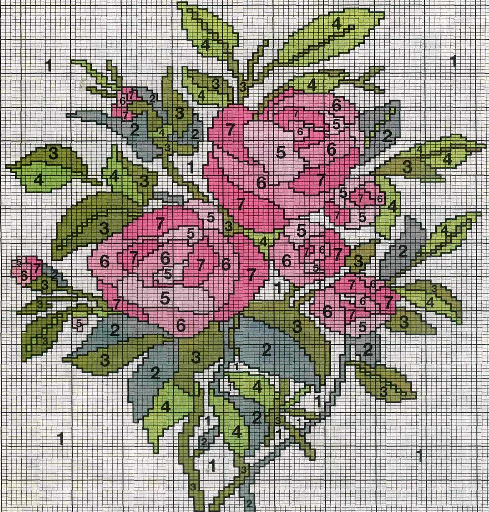 Узор цветов для вязания спицами