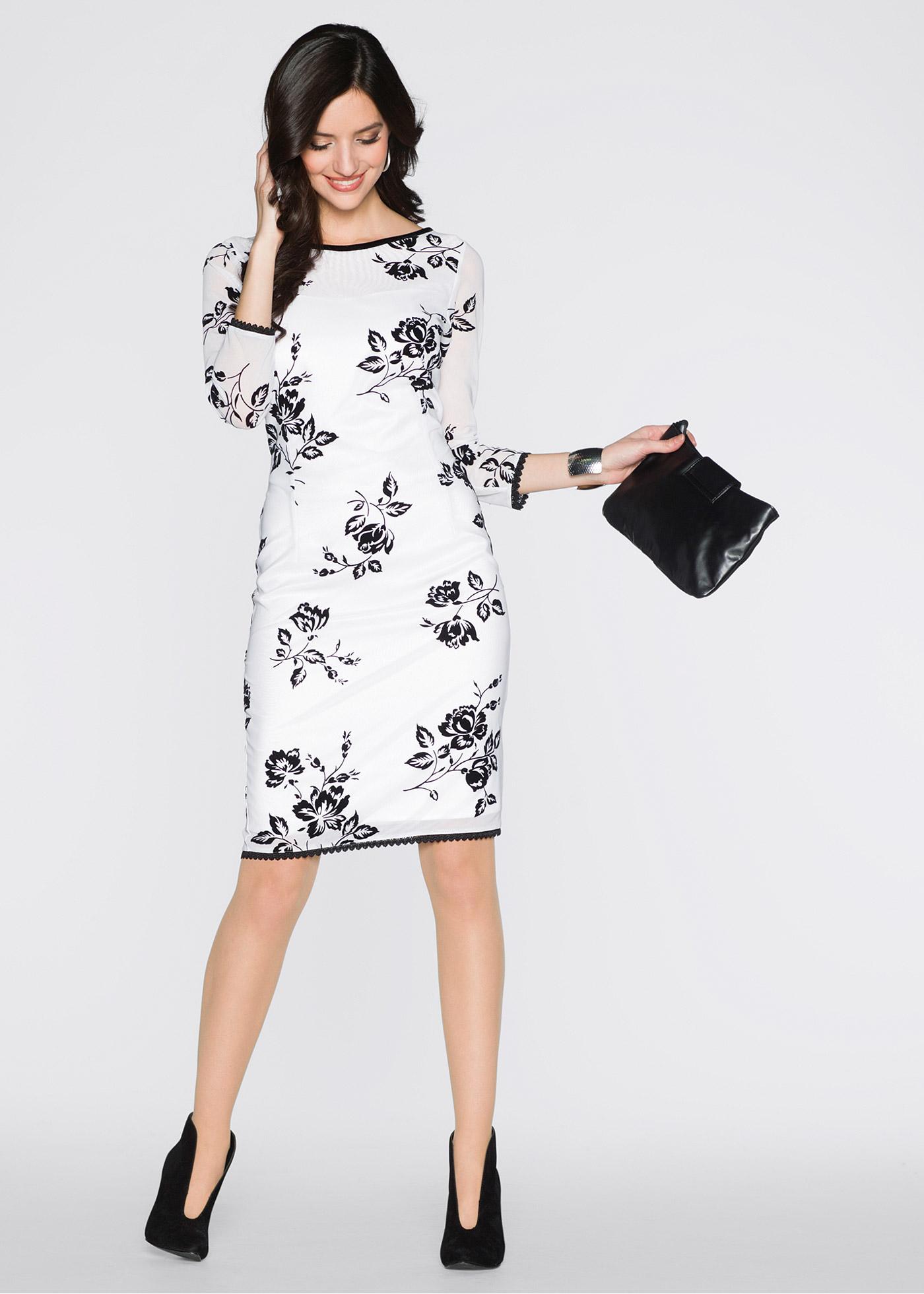 105d040b1d7 Платье белый черный с узором - BODYFLIRT заказать онлайн - bonprix.kz ·  zoom in