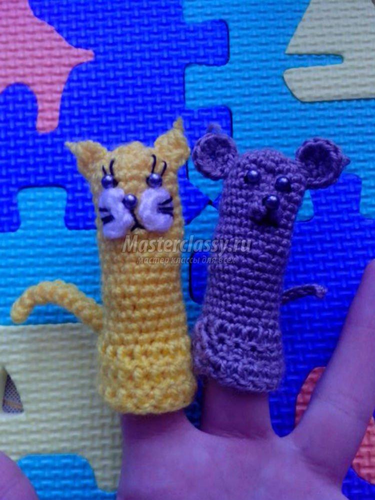 вязаные пальчиковые игрушки для театра кошки мышки мастер класс с