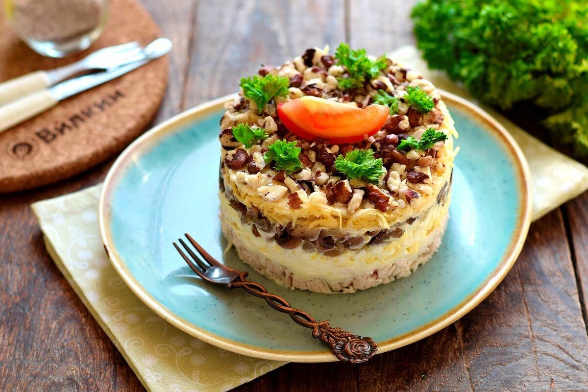 подставлять салат сказка с курицей и грибами фото статье