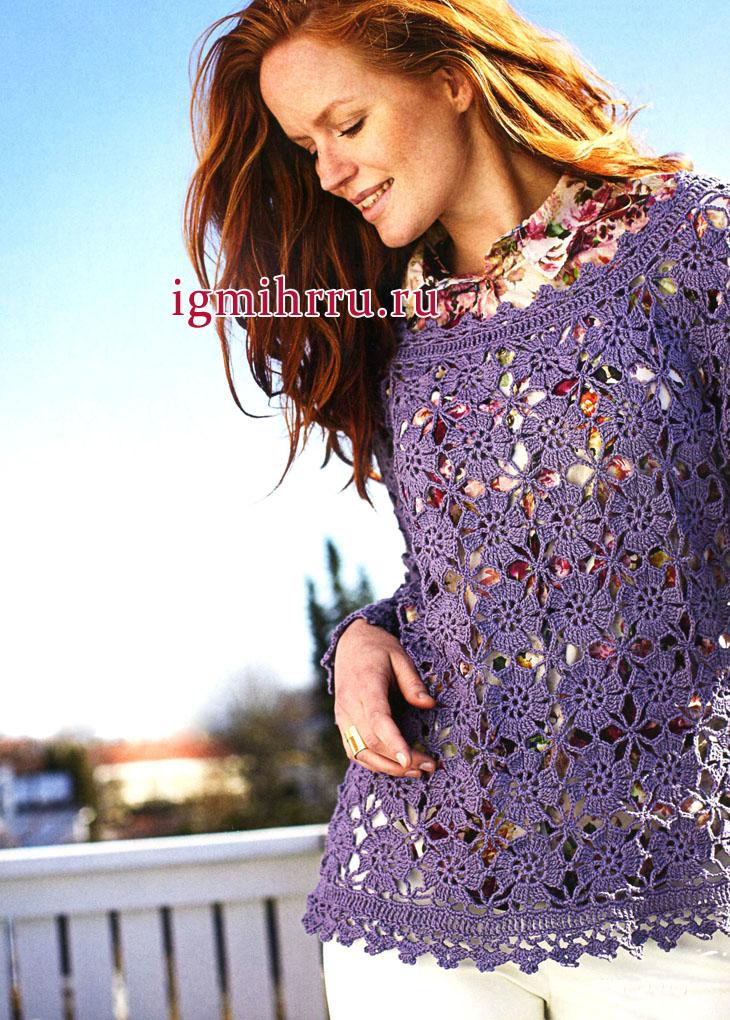 48a6b8fe1d1 Кружевная туника цвета лаванды с цветочными мотивами. Вязание крючком ·  zoom in
