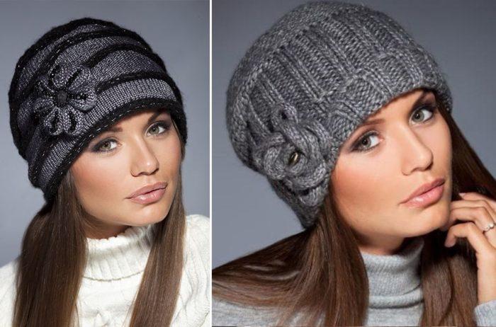 вязанные зимние шапки для женщин фото