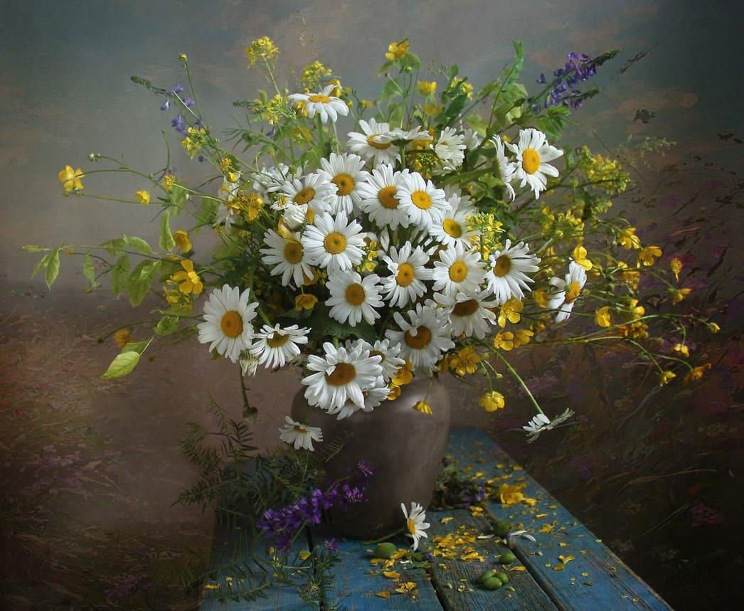 Букет полевых ромашек, цветы москве розницу
