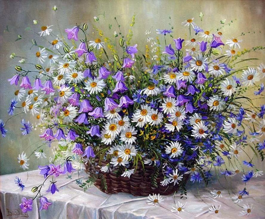 открытка полевые цветы с днем рождения