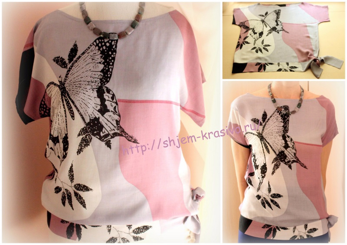 eb8ee0b9842 Шьем летнюю блузу с притачным поясом-бантом. Мастер-класс