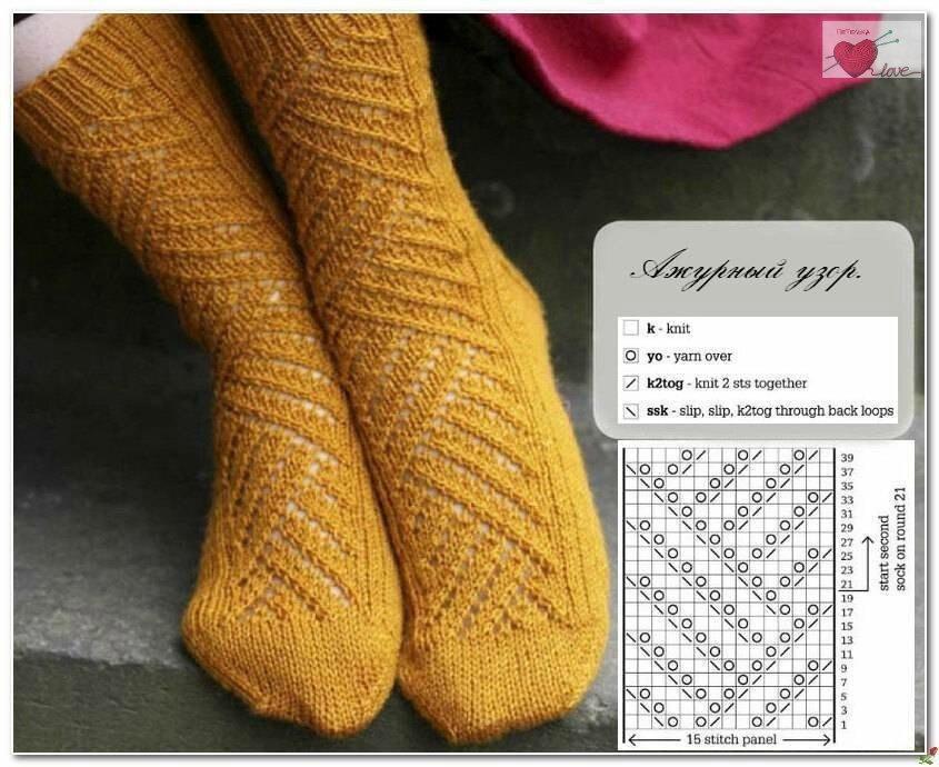Носки спицами с ажурным узором схемы фото