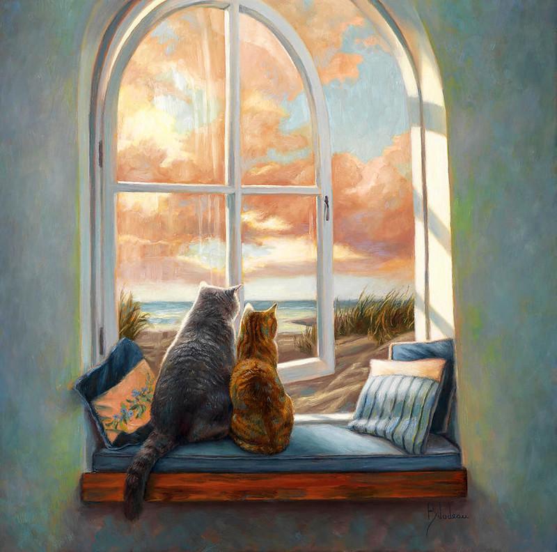 Сидит кошка на окошке картинки