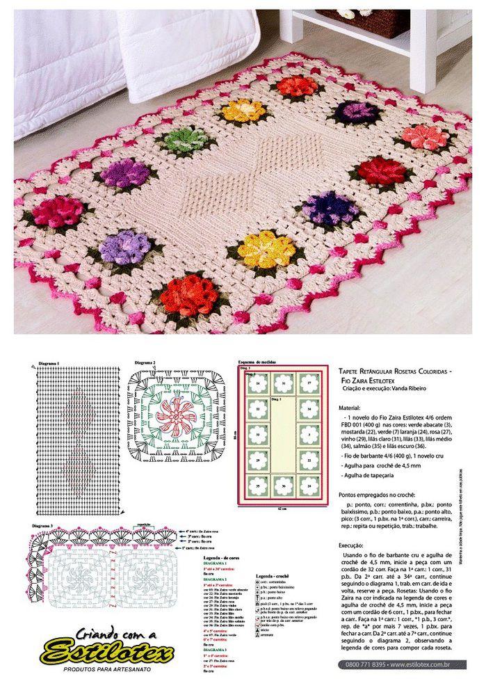 вязание крючком квадратных ковриков схемы с фото