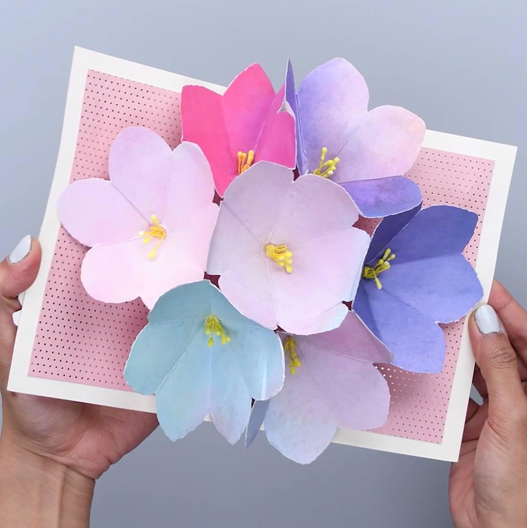Как сделать открытку объемный цветок, днем рождения поздравления
