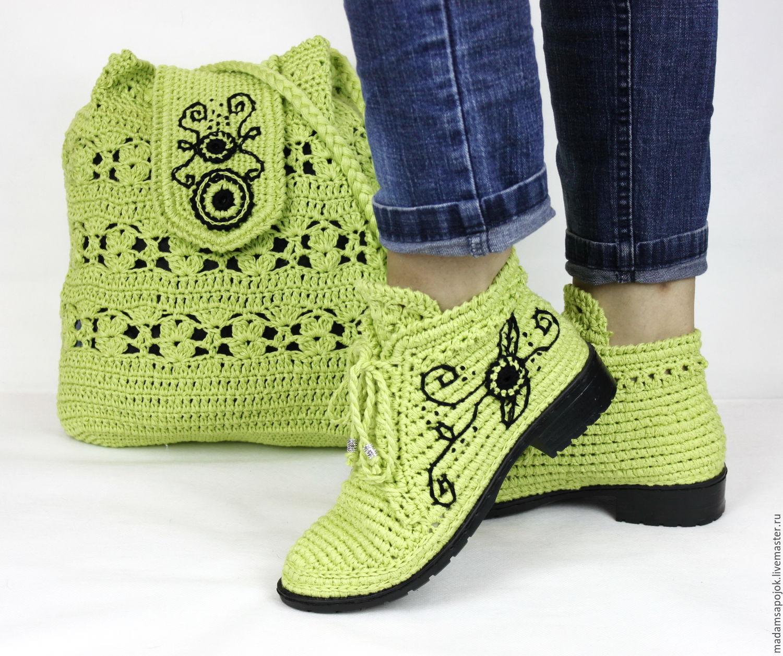 3d934f771870 Льняные ботиночки вязаные сумка комплект – купить в интернет-магазине на Ярмарке  Мастеров с доставкой · zoom_in