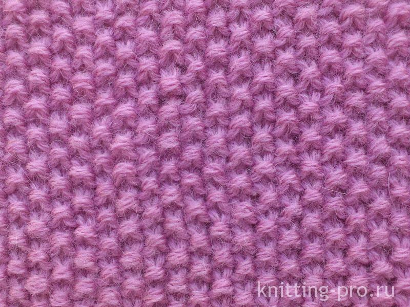 Узор жемчужный (рис, путанка) спицами для начинающих мелкий и.