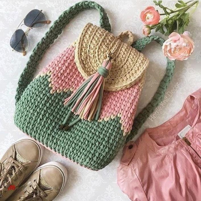 f62244fed00e Вяжем очаровательные и удобные рюкзаки из трикотажной пряжи крючком — I Love  Hobby — Лучшие мастер · zoom_in