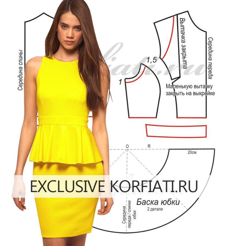 c08d1e91a1e Выкройка платья с баской от Анастасии Корфиати · zoom in
