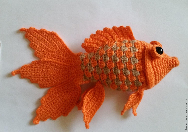 Вязаная золотая рыбка схема