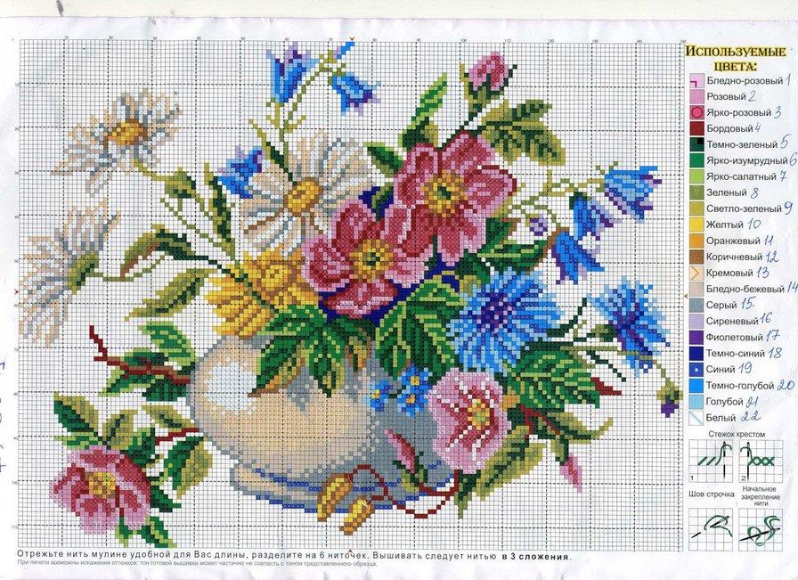 Вышивка крестом схемы картинки цветы