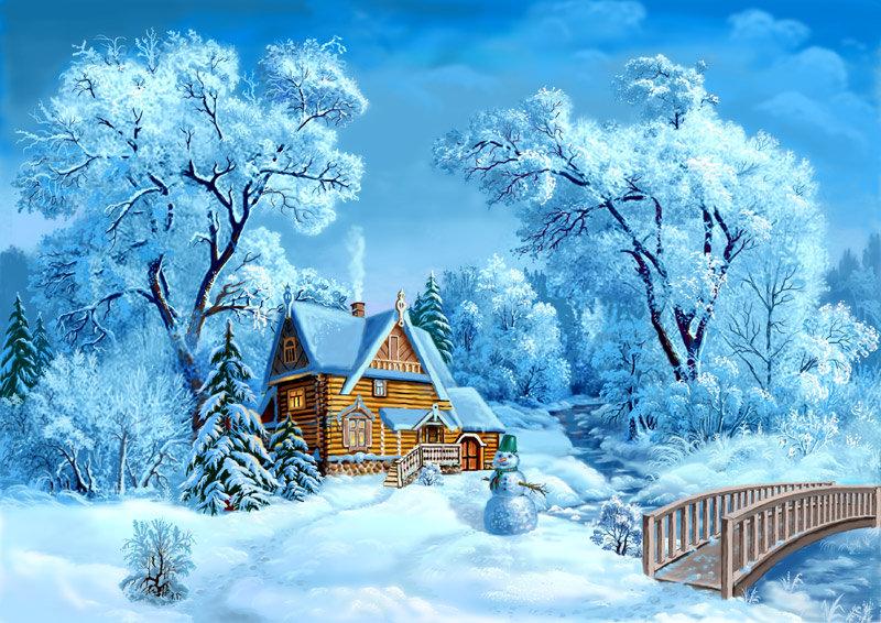 Дню, новогодняя открытка с зимним пейзажем