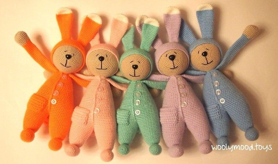 мастер класс по амигуруми заяц в пижаме крючком игрушки крючком