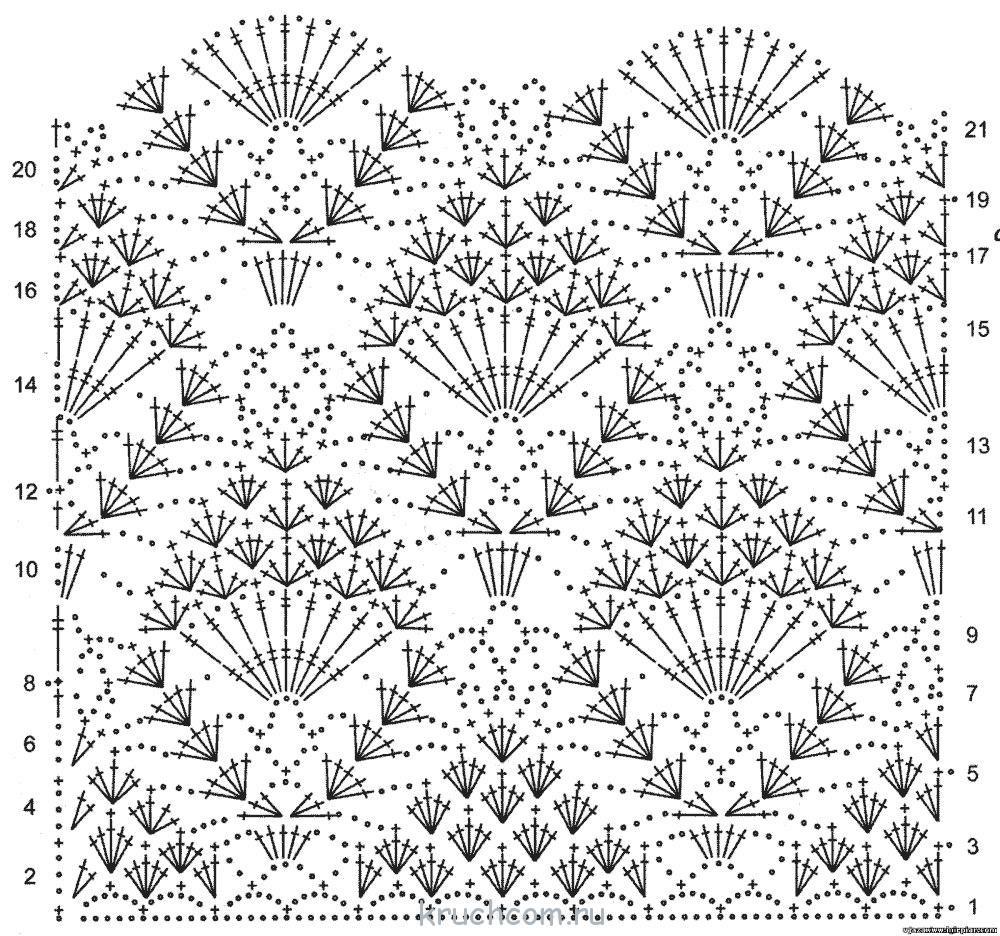 Схема узора ананас крючком