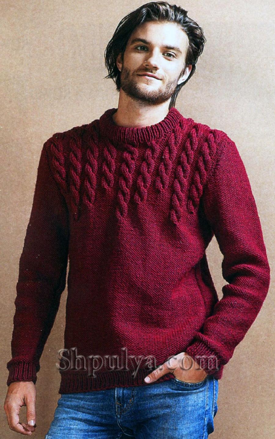 3e9c3900a4c6 Пост! Спасибо · Подробнее. www.SHPULYA.com - Бордовый мужской пуловер с  узором из кос