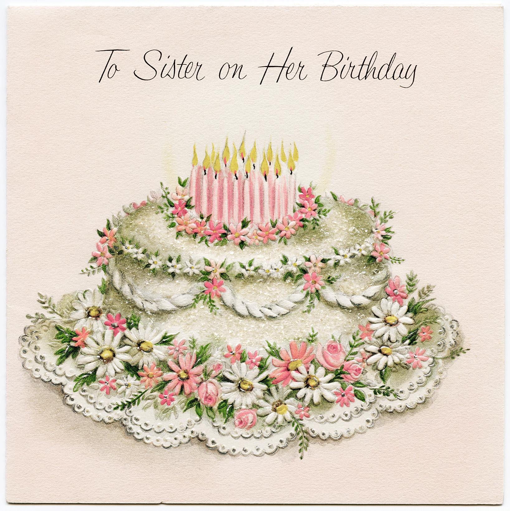 Открытка винтажная с днем рождения девушке