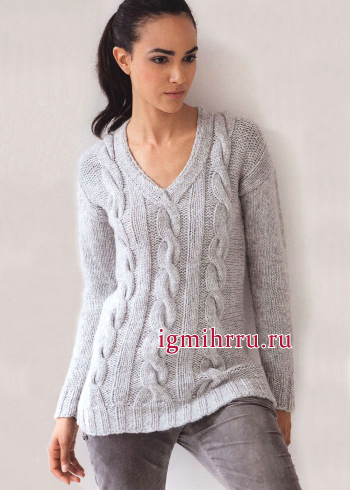 серый пуловер из мериносовой шерсти с кашемиром с узором из кос