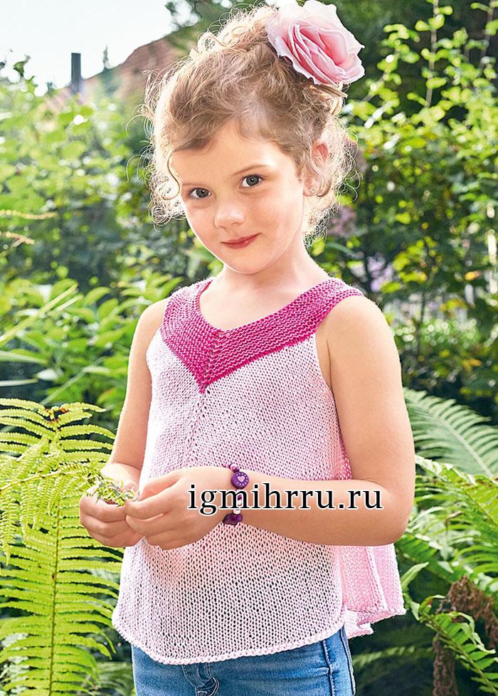 розовый летний топ для девочки 5 9 лет вязание спицами вязание