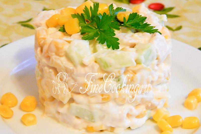 салат из курицы ананаса и кукурузы