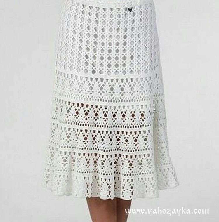 749756d5aa5 Красивая модель летней юбки крючком со схемами. Белая юбка крючком · zoom in