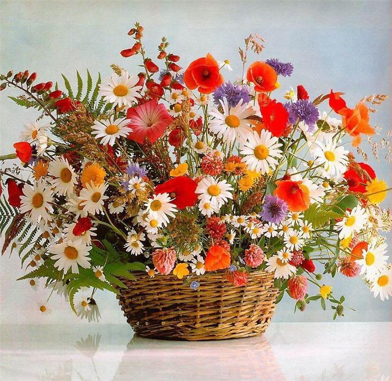 Сделать, открытка полевыми цветами
