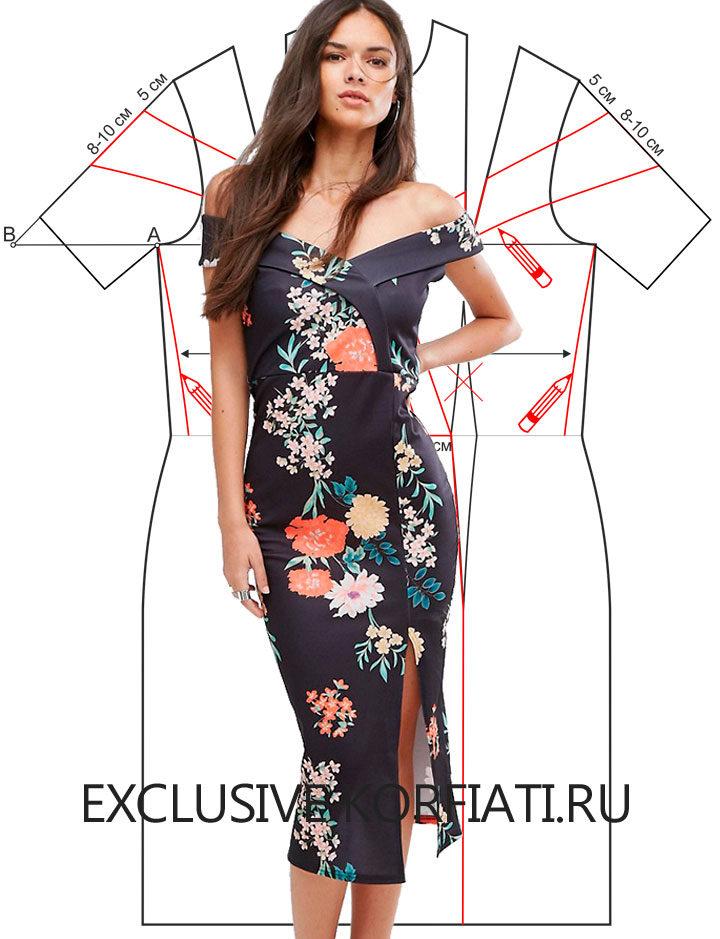 241e737eadd Выкройка платья со спущенными плечами от Анастасии Корфиати