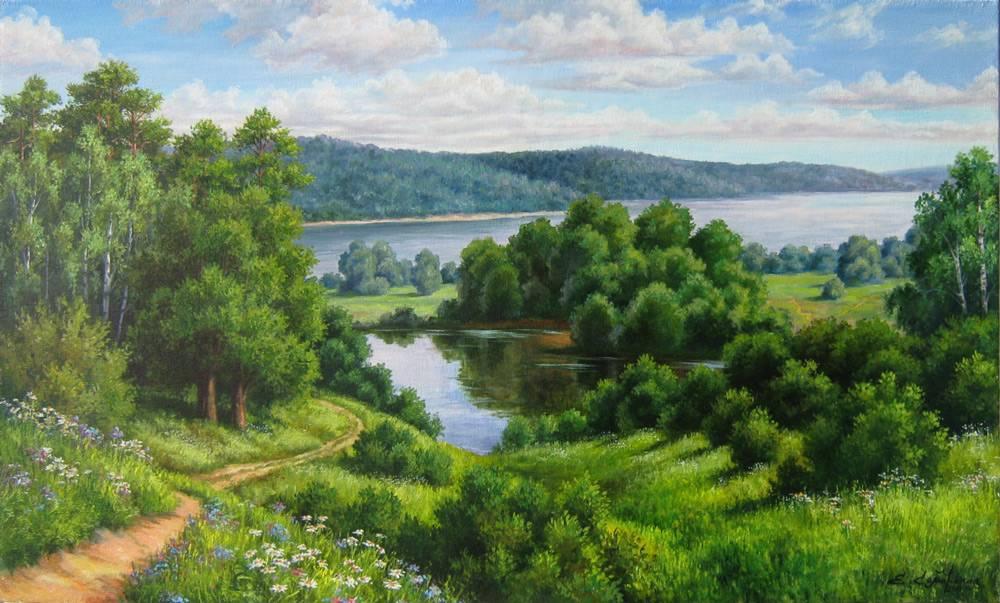 пейзажи средней полосы россии рисунки ландшафтный